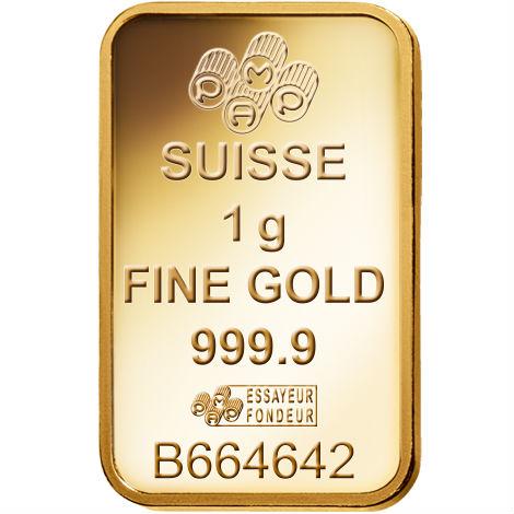 Pamp Suisse 1 Gram Gold Bar Reverse