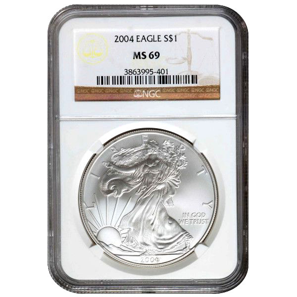 US Mint 2004 1 oz American Silver Eagle Coin NGC MS69