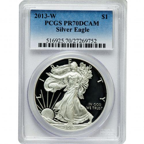 Buy 2013 W American Silver Eagles Pcgs Pr70 L Jm Bullion