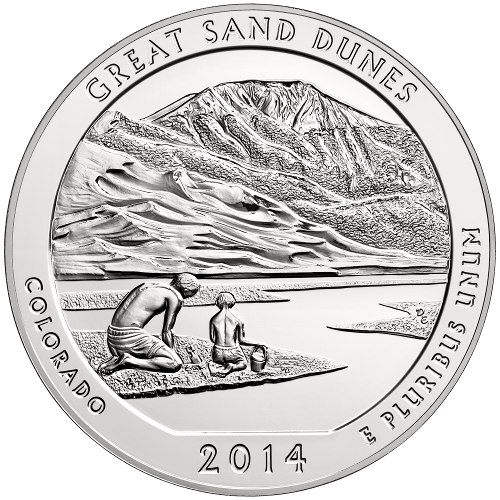 US Mint 2014 5 oz ATB Great Sand Dunes Silver Coin (BU)