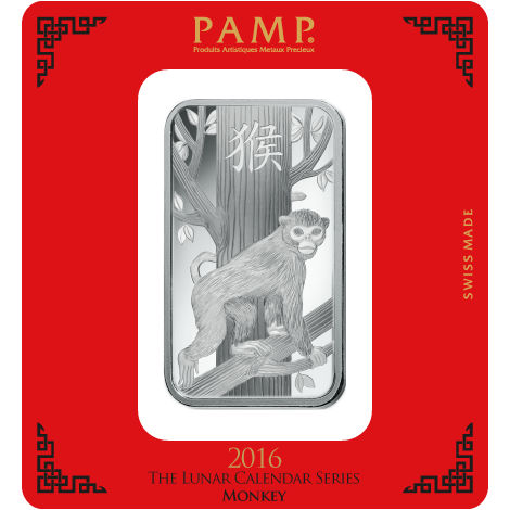 100 Gram PAMP Suisse Monkey Silver Bar (New w/ Assay)