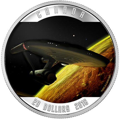 2016 1 oz Colorized Canadian Silver Proof Star Trek: Ente...