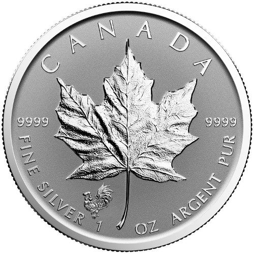 2017 1 oz Rooster Privy Canadian Silver Maple Leaf Revers...
